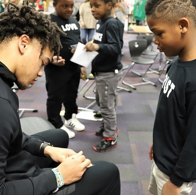 Purdue basketball players talk man-to-man at Mayflower