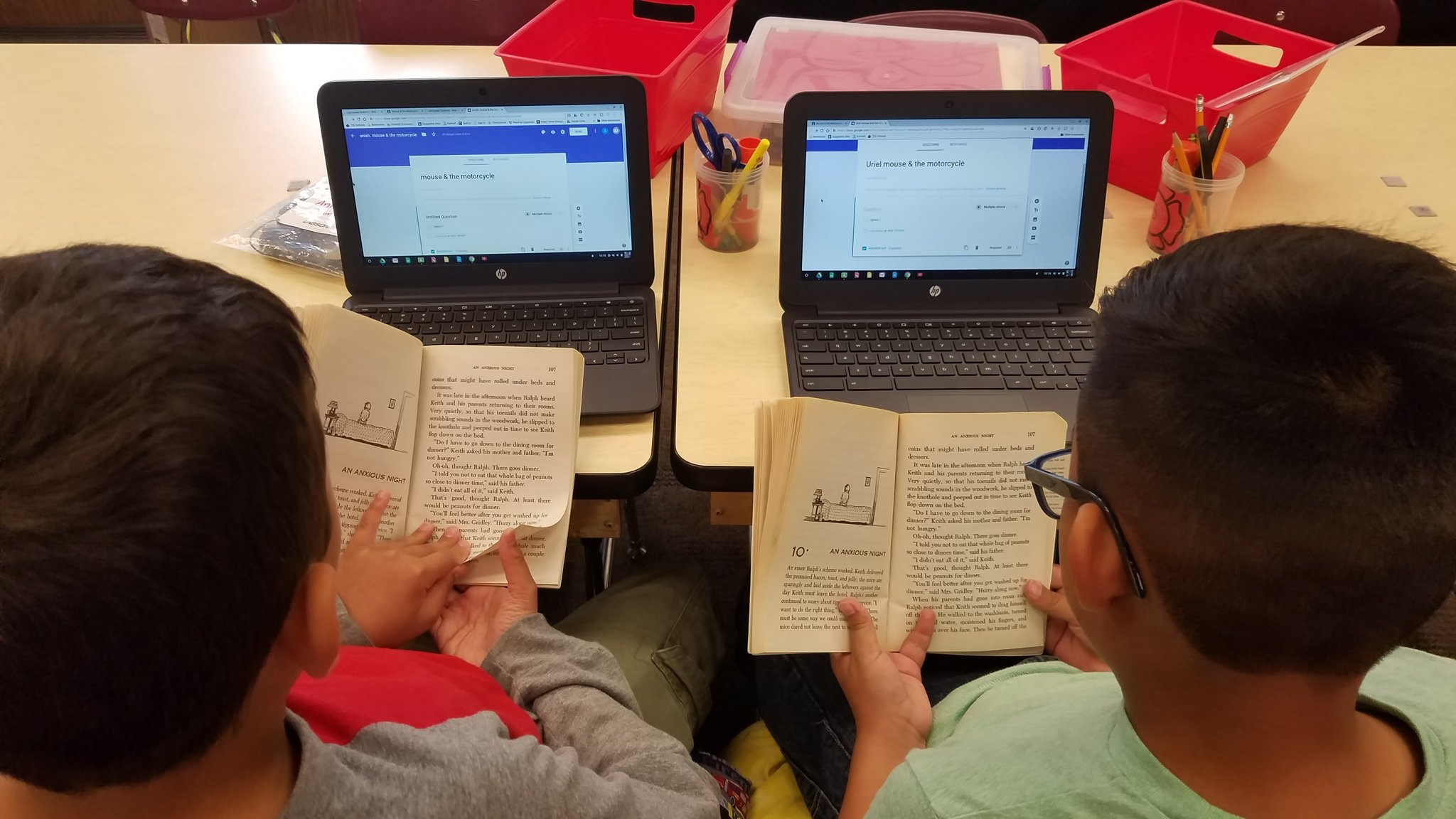 Students using Chromebook image